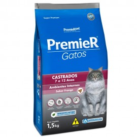 Premier Gatos Castrados De 7 a 12 Anos Ambientes Internos Frango 1,5 kg