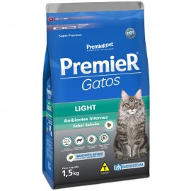 Premier Gatos Light Ambientes Internos Salmão 1,5 kg