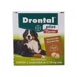 Drontal Plus Carne Vermífugo Cães Até 35 kg Cx 2 Comp