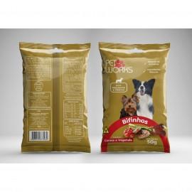 Bifinho Pet Works Raças Pequenas e Médias Carne e Vegetais 50 g